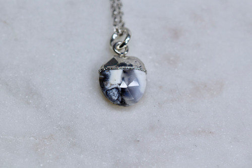 Sterling Silver 925 Dendrite Opal Necklace