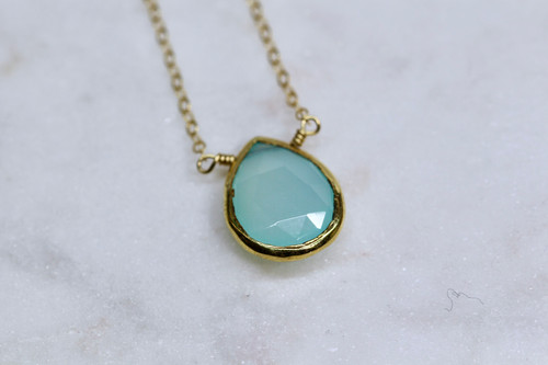 14K Yellow Gold Chalcedony Necklace