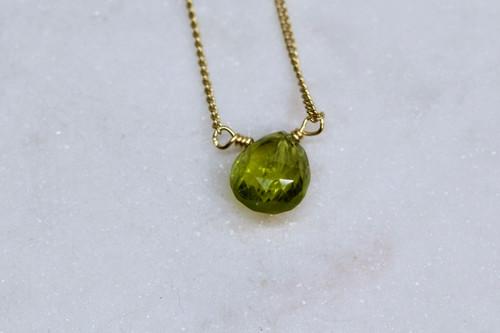 Handmade 14K Yellow Gold Peridot Necklace