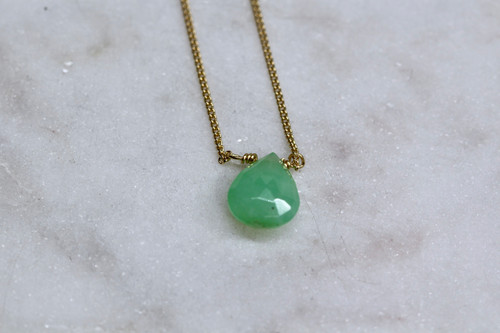 Handmade 14K Yellow Gold Chrysoprase Necklace