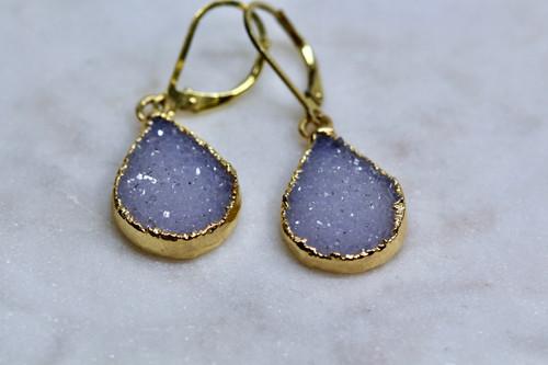 14K Yellow Gold Handmade Agate Drusy Earrings