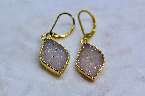 Handmade 14K Yellow Gold Marquise Druzy Earring