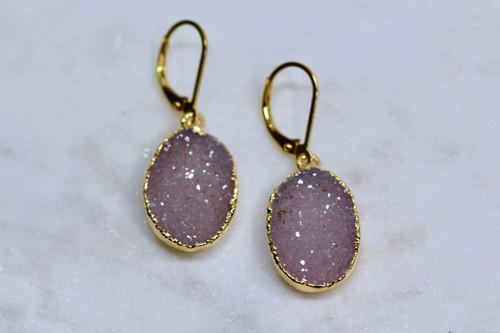 14K Yellow Gold Handmade Lavender Amethyst Druzy Earrings