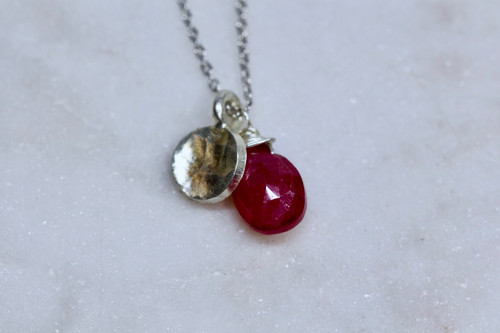 Sterling Silver 925 Ruby Necklace