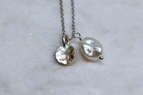 925 Sterling Silver Pearl Gemstone Necklace