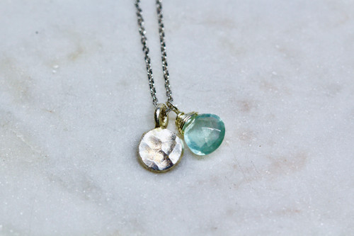 Sterling Silver 925 Aquamarine Necklace