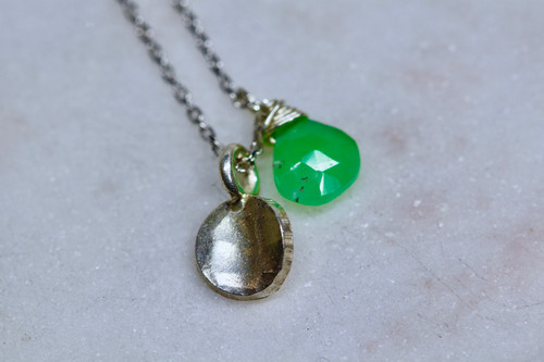 Sterling Silver 925 Chrysoprase Necklace