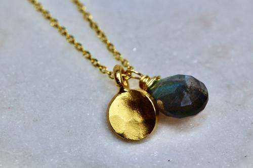 14K Yellow Gold Labradorite Necklace