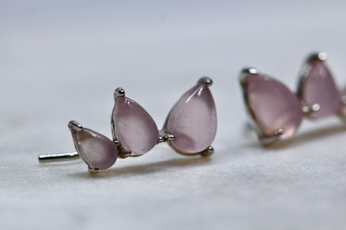 Sterling Silver 925 Rose Quartz Ear Climber