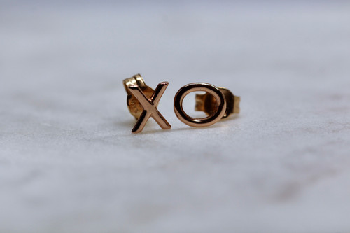 14K Rose Gold XO Stud Earrings