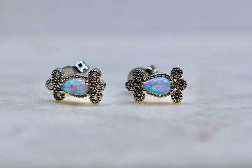Sterling Silver 925 Opal Diamond Stud Earring, Dainty Sterling Silver Opal Earring, Handmade Sterling Silver Opal Diamond Earring