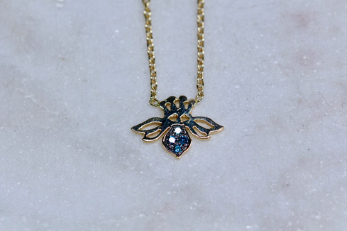 14K Yellow Gold Blue Diamond Bee Necklace