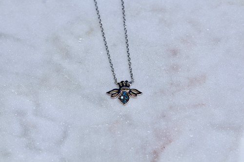 Handmade 14K White Gold Bee Necklace