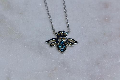 Blue Diamond Bee Pendant