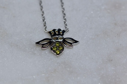 14K White Gold Diamond Bee Necklace