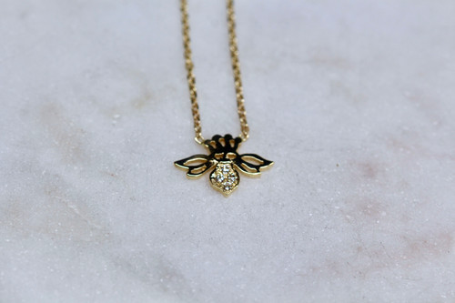 Handmade Diamond Bee Necklace