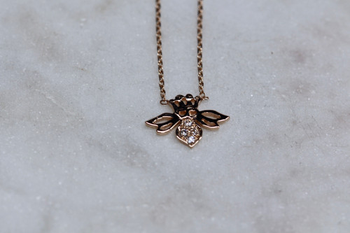 14K Rose Gold Diamond Bee Necklace