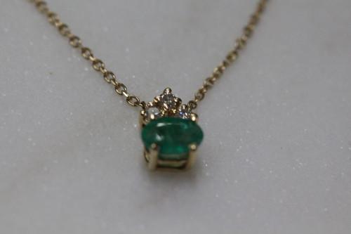 14K Yellow Gold DiamondEmerald Necklace