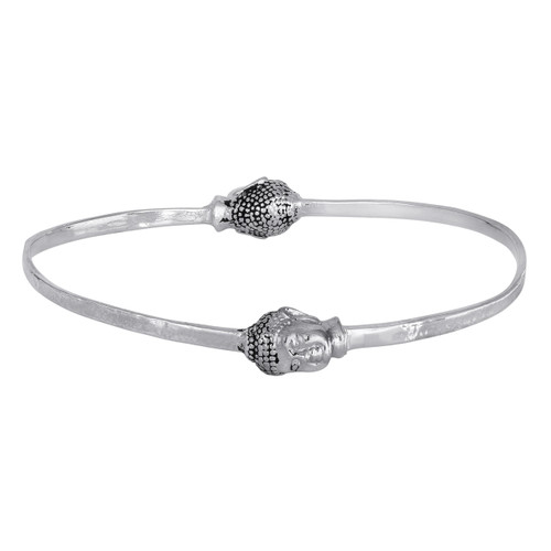 925 Sterling Silver Buddha Bracelet, Buddha Bangle, Hammered Bangle