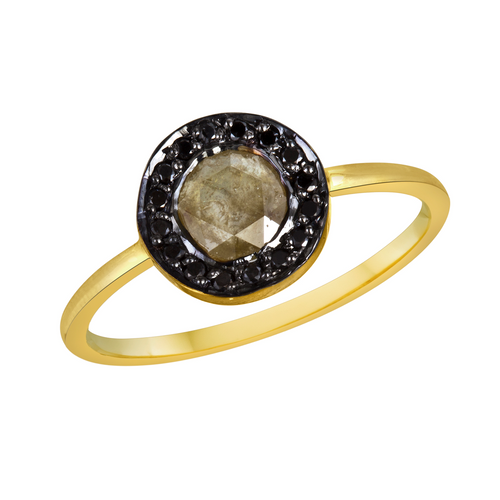18 karat gold hand crafted one of a kind ring. total weight .55Carat top of the ring measures approximately 8mm. the center stone is .45 Carat rose cut natural green diamond.  It has total of 17 black diamonds set around the rose cut diamond.  Comes with free sizing and shipping!