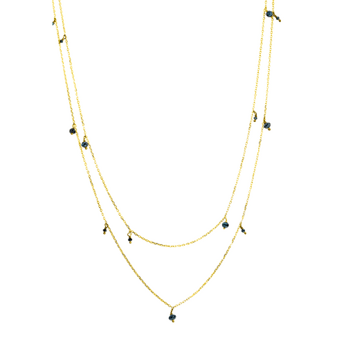 14K Yellow Gold Fancy Blue Diamond Accent Chain, Blue Diamond  Layering Necklace, Diamond Long Layering Necklace