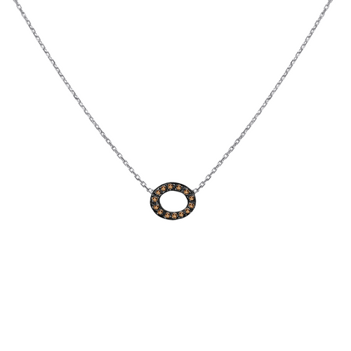 14K White Gold Micro Pave Link Necklace, Diamond Necklace, Oval Diamond Necklace Hand Made