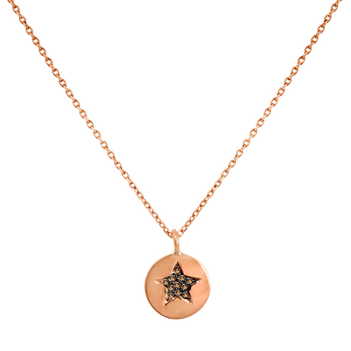 14k rose gold diamond pave star pendant