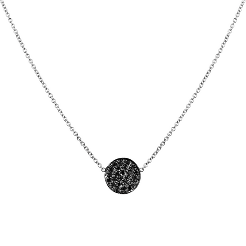 14K White Gold Black Diamond Micro Pave Disc Pendant, Black Diamond Necklace, Diamond Statement Necklace Hand Made