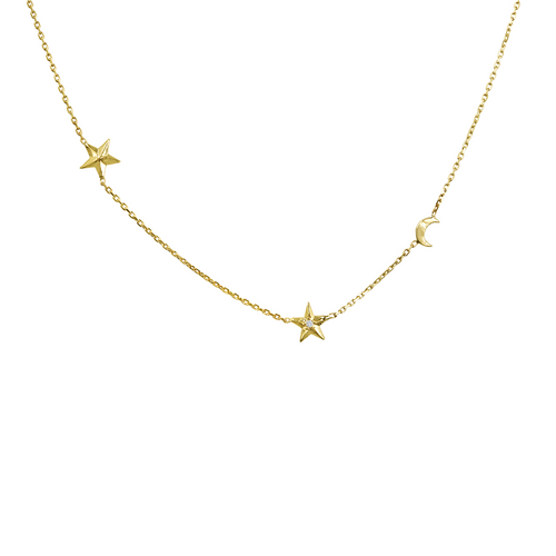14K Yellow Gold Diamond Celestial Necklace, Diamond Moon & Star Necklace, Diamond Layering Necklace Hand Made