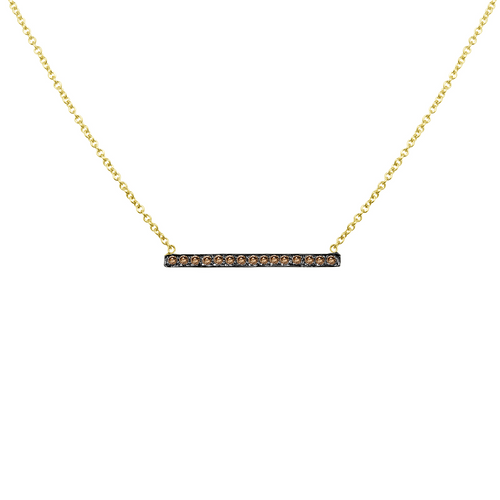 14K Yellow Gold Micro Pave Diamond Bar Necklace, 14k Gold Diamond Necklace, Bar Necklace, Layering Necklace Hand Made