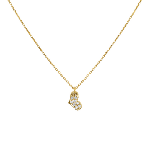 14k Yellow Gold Diamond  Micro Pave Tiny Heart Necklace, Diamond Heart Pendant,  14k Yellow gold Diamond Necklace Hand Made