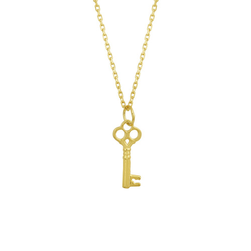 Tiny Gold Classic Key Necklace, Gold Plated Sterling Silver Key Necklace, Key Necklace, Layering Necklace Hand Made