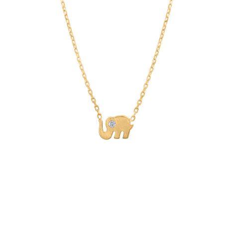 Unique Tiny Diamond Baby Elephant Necklace