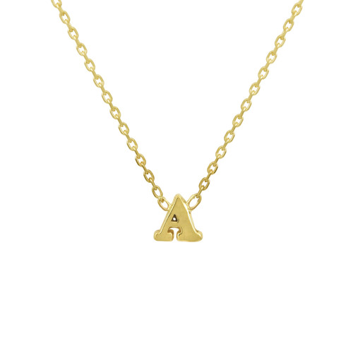 Solid Gold Tiny Initial Necklace, 14K Yellow Gold Initial Necklace, Solid Gold Layering Necklace