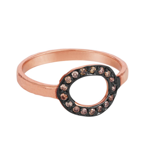 Champagne Diamond Solid Gold Pave Open Link Cocktail Ring, 14K Rose Gold Diamond Ring, Pave Diamond Minimalist  Ring