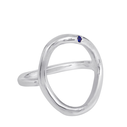 Sterling Silver open ring, Hammered Hand Made Statement Ring With Sapphire Gemstone