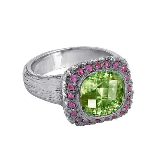 Peridot Sterling Silver Hand Made Ring With Pink Sapphires, Hand Carved Gemstone Ring, Peridot & Pink Sapphire Engagement Ring