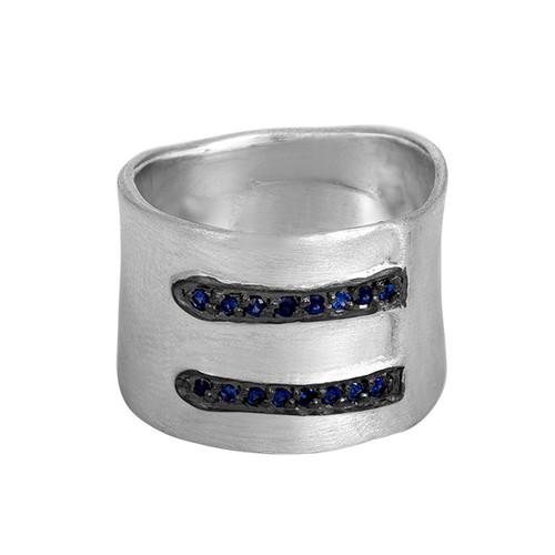 Wide Sterling Silver Band With Pave Sapphires, Wide Statement Cigar Band, Sapphire Hand Made Sterling Silver Ring