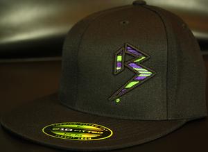 BLITZ Hat Blk/Neon Green/Purple on all Black 210 Premium Fitted Sku # 0251F-011225