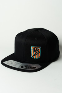 Ballz Racing Shield Snapback - BLK/AQUA/ORANGE on all Black 110  Hat