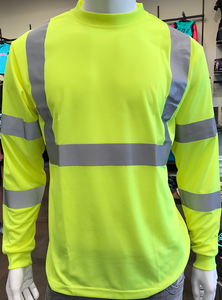 Class 3 High-Visibility YELLOW/LIME Long Sleeve T-Shirt w/X ON BACK