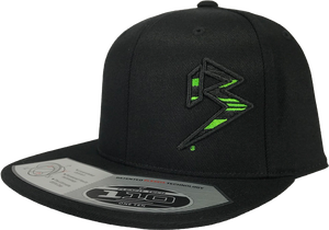 BLITZ Hat Black/Neon Green on all Black 110 Snapback