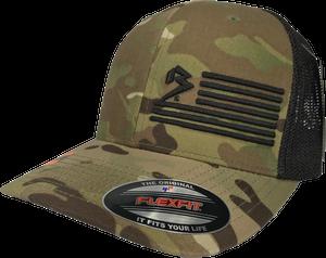 B FLAG TRUCKER FLEXFIT MULTICAM®/BLACK