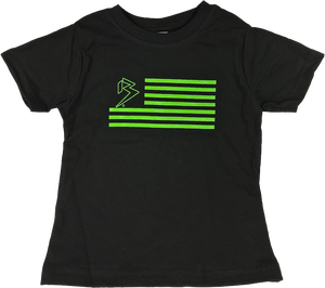 B FLAG YOUTH/TODDLER TEE BLACK/LIME GREEN