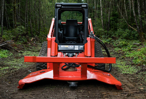 """Eterra Typhoon 74"""" Rotary Mower Skid Steer Attachment Front action"""