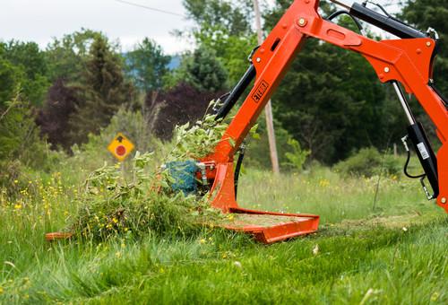 Eterra Raptor Skid Steer Boom Arm Mower Attachment Action cyclone grass mowing