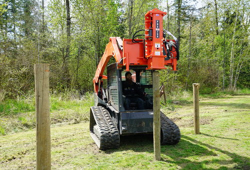 Eterra PDX-750 Skid Steer Post Driver Attachment action