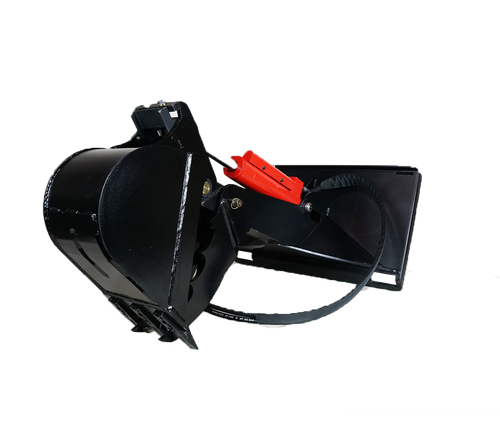 E40 mini skid steer backhoe attachment with standard bucket.