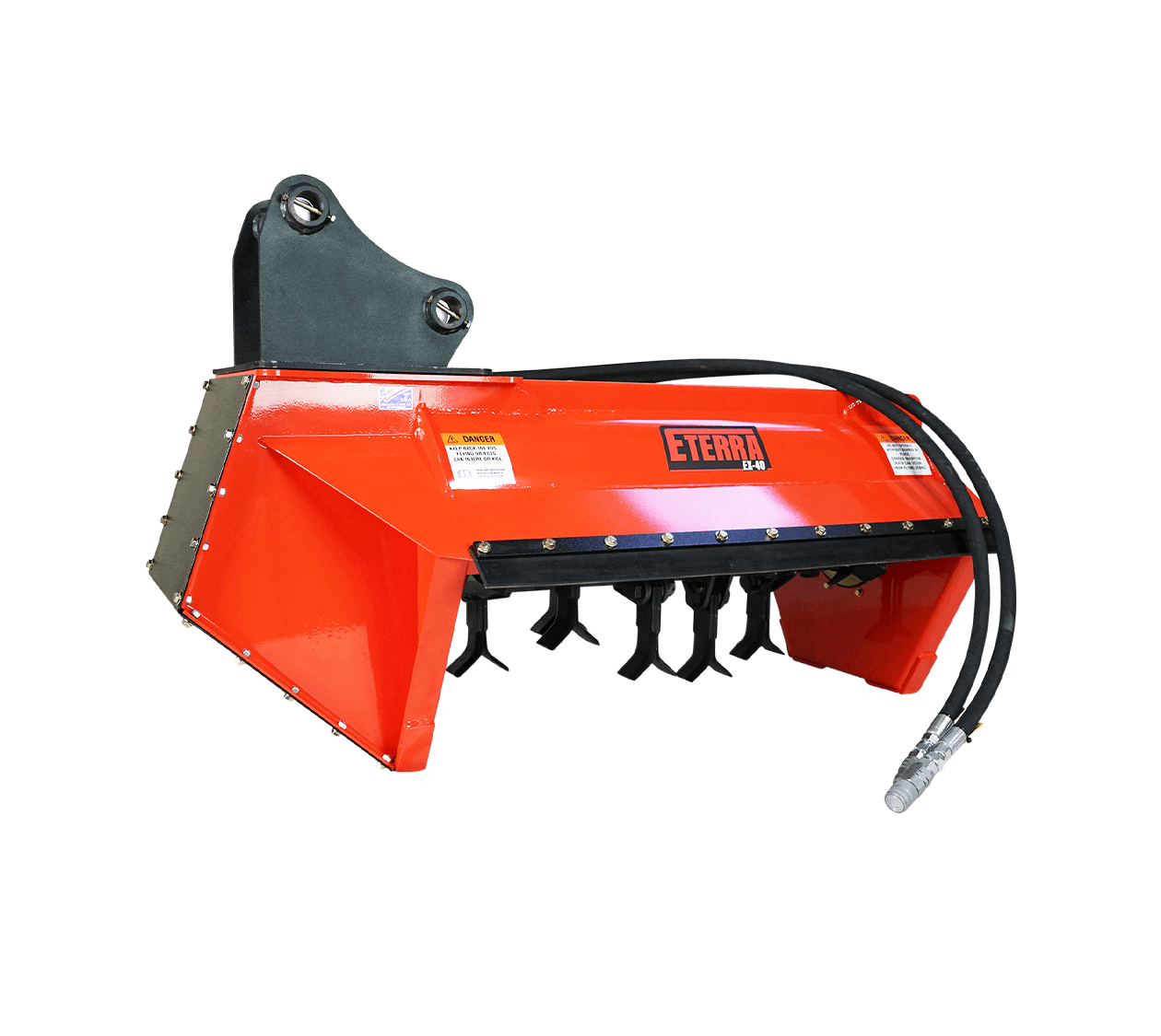Eterra EX-40 Excavator Flail Mower Attachment White Background side angle