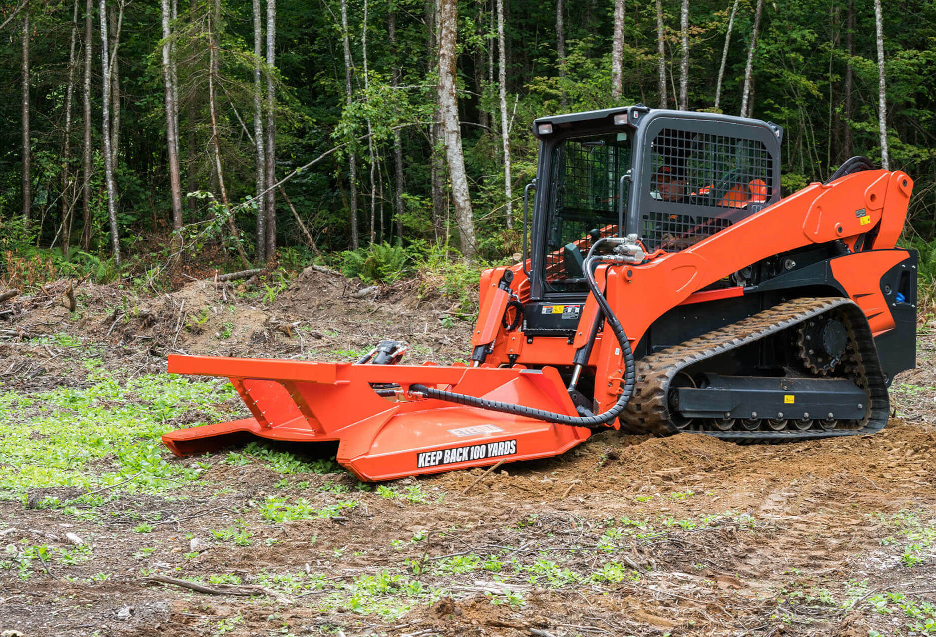 """Eterra Typhoon 74"""" clearing Mower Skid Steer Attachment Side Action"""